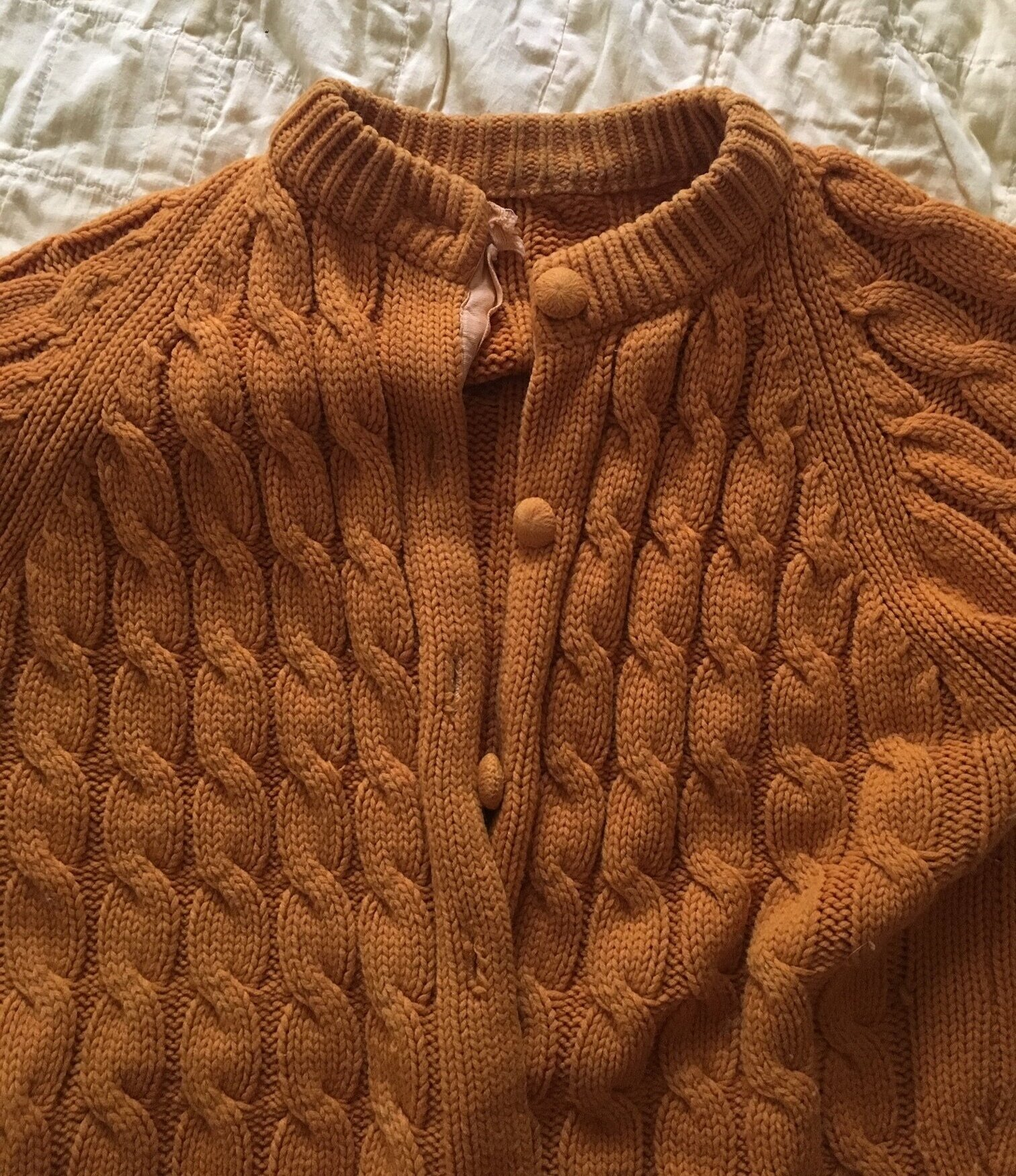 A hand me down sweater that didn't get much wear until Sept, but it's getting wear now.