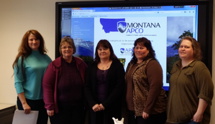 Kim Burdick  swore in the 2014 Montana APCO Chapter Officers at the January Montana Chapter Meeting. Pictured are (from left to right): Kim Burdick, Western State Region APCO International Council Representative,  Michele Blais , Executive Council Representative,  Susan Bomstad , President,  Peggy Glass , Secretary and Treasurer, and  Sheila Erb , Vice-President.