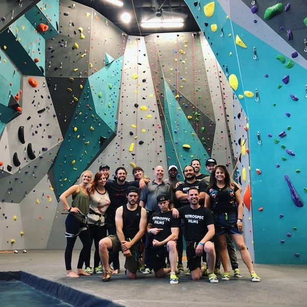 We rocked out today. The Retrospec Films crew left the office for a bit and climbed at the new gym. We had such an incredible time. Congratulations @climbtulsa on the upcoming Grand Opening. . . . . . . #outoftheoffice #climbing #climbtulsa #teambuilding #filmcompany #retrospeccrew #oklahoma #tulsa #retrospecfilms