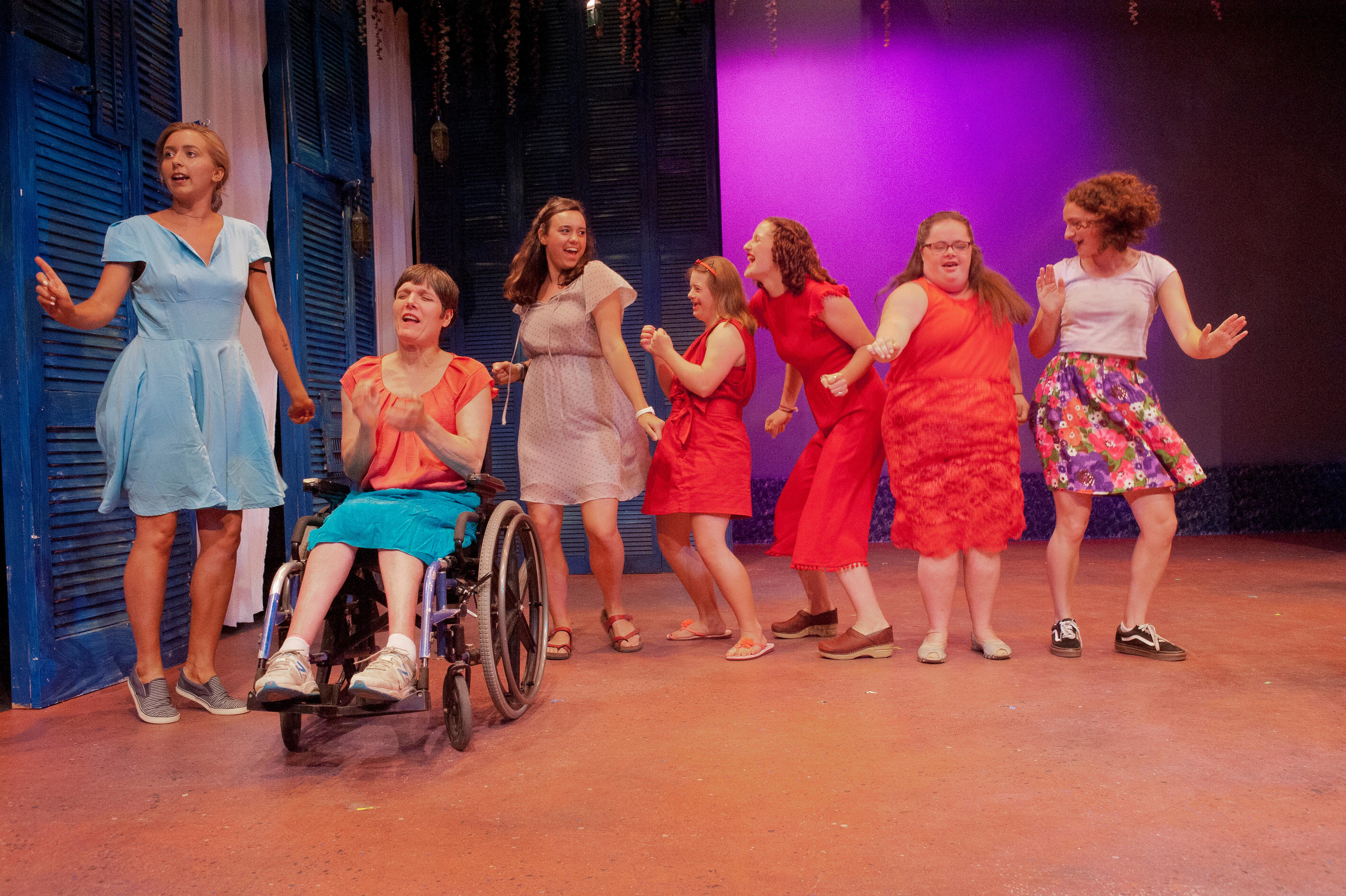 "Carley, Candy, Kellen, Grace, Talia, Katie, and Jamie dancing to ""Shake It Off"" in the original musical ""Na Na Land"""