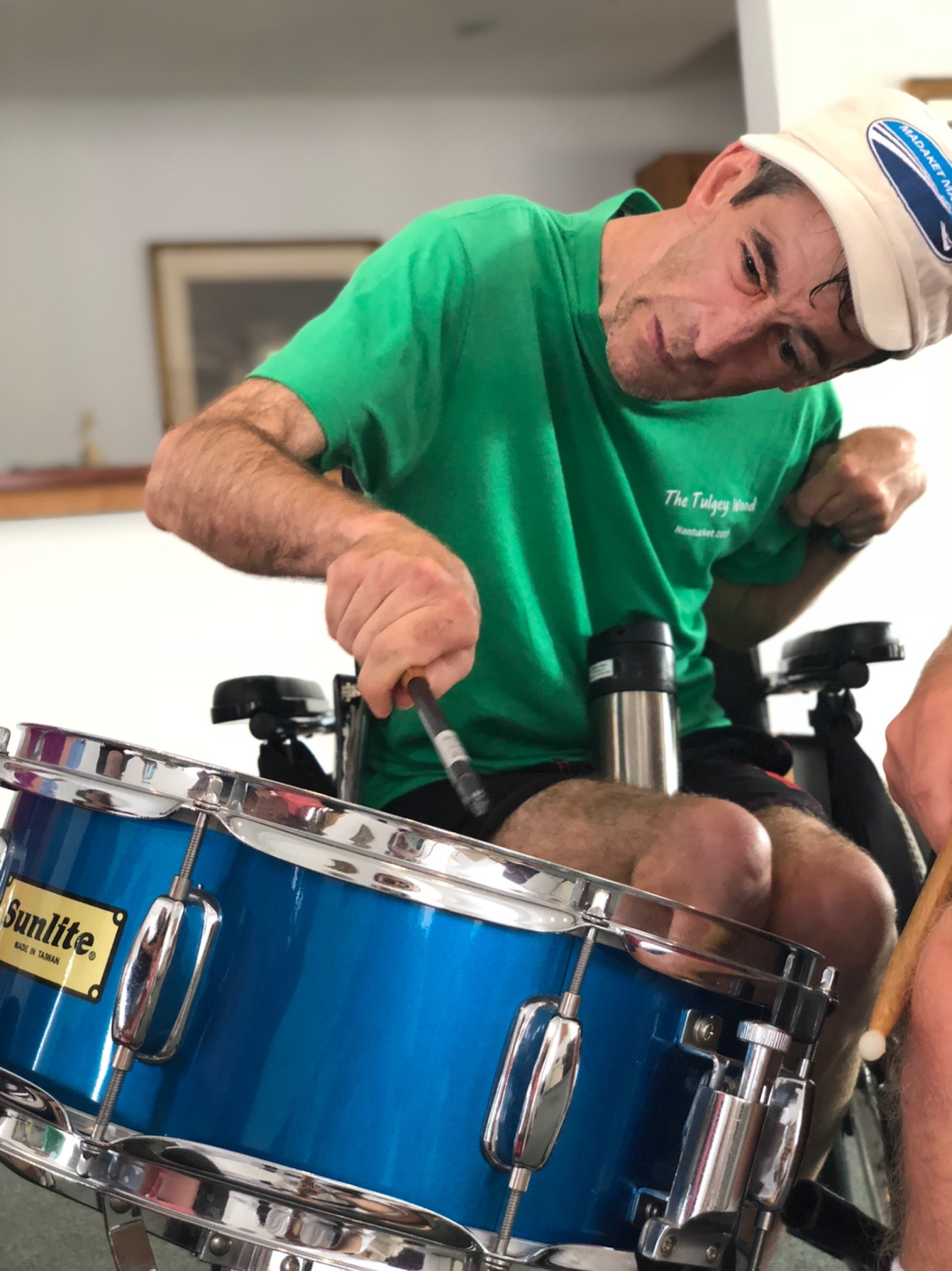 Billy rocks out on drums, too!