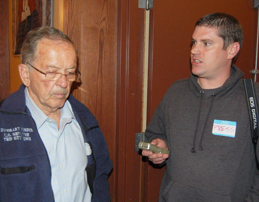 Brendan with Sen. Ted Stevens, sometime during the 2008 senatorial campaign (which he lost to Mark Begich) / Courtesy of Brendan