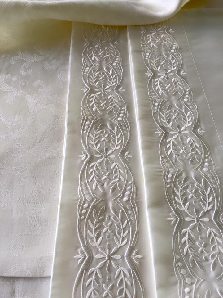 Kearsley SKU#CSL-PS-Ivory Cynthia Scroll Linen Pillow Shams in Ivory SKU#ES-PC-Ivory-TE1-White Essentials 600tc 100% extra long staple Egyptian cotton Sateen Pillow Cases with White Tyrolean Embroidery 1 Made in Italy and USA.jpg