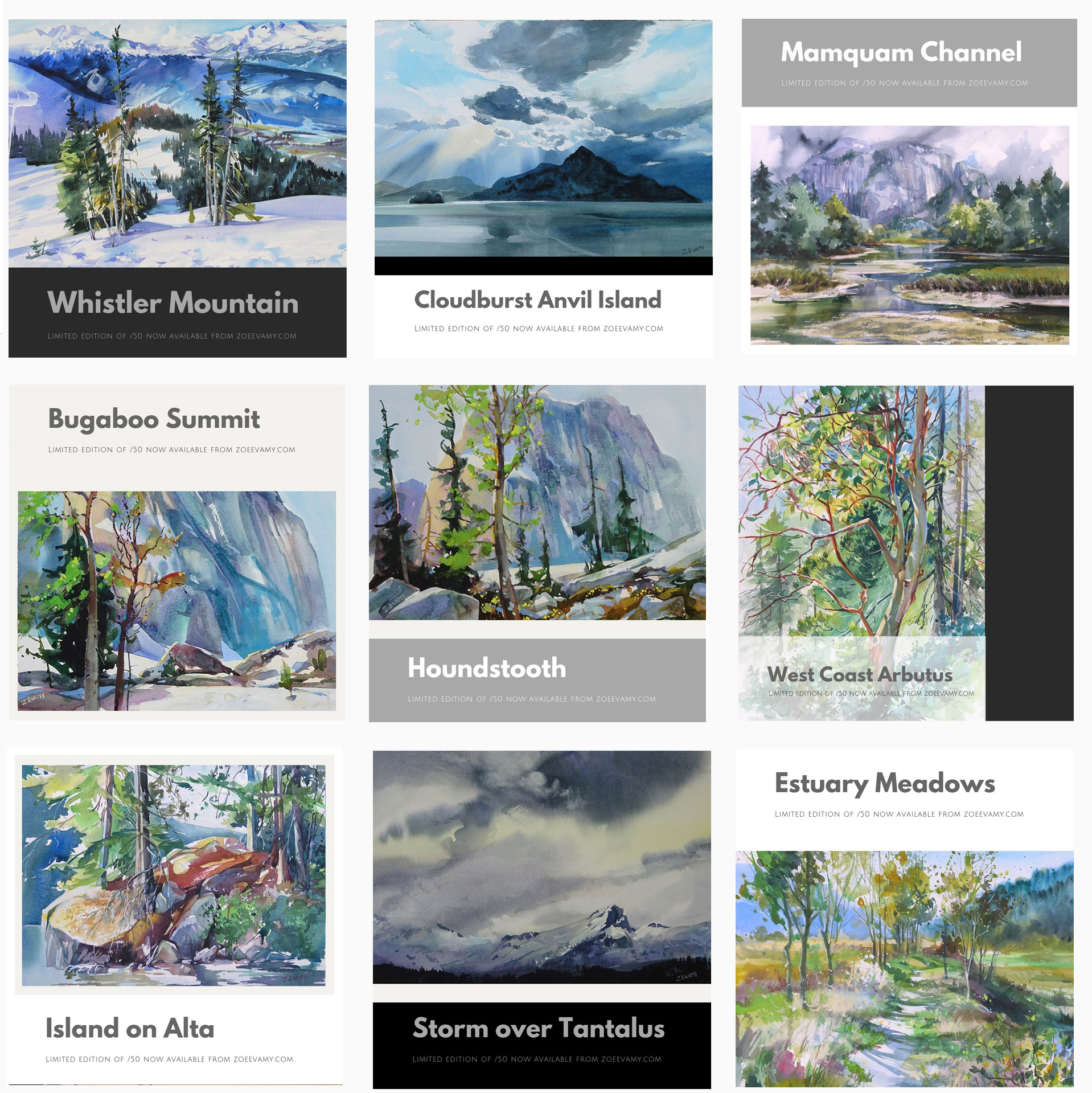 A selection of aquarelle prints available as limited editions