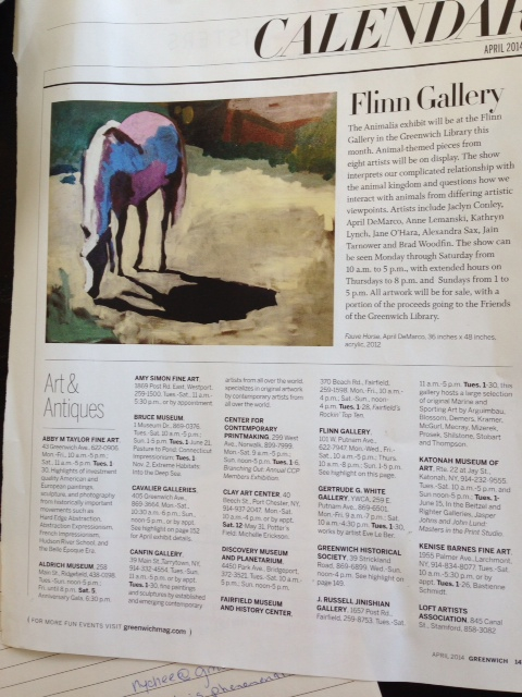 A nice promotional image cap\turing the Flinn Gallery exhibit with my Fauve Horse 36 x 48, Acrylic.