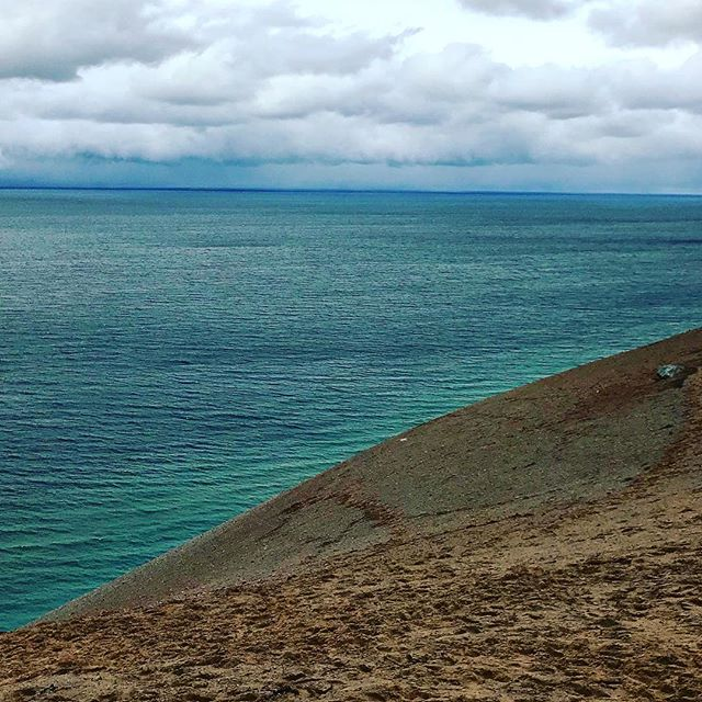 Enjoying some views of Lake Michigan up north at the Sleeping Bear Dunes. #alsoitssnowingtoday
