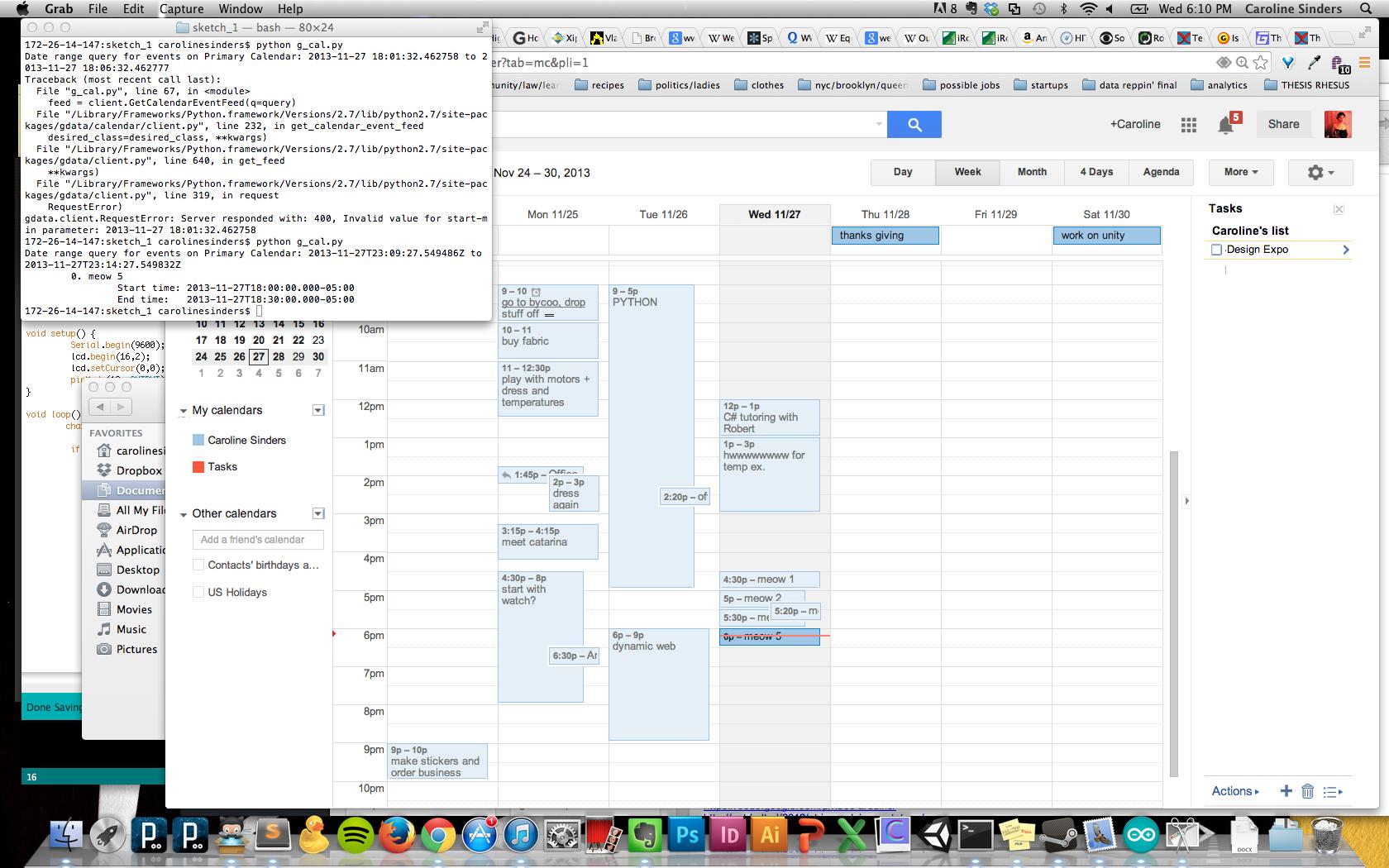 Screen shot of python code parsing my google calendar data.