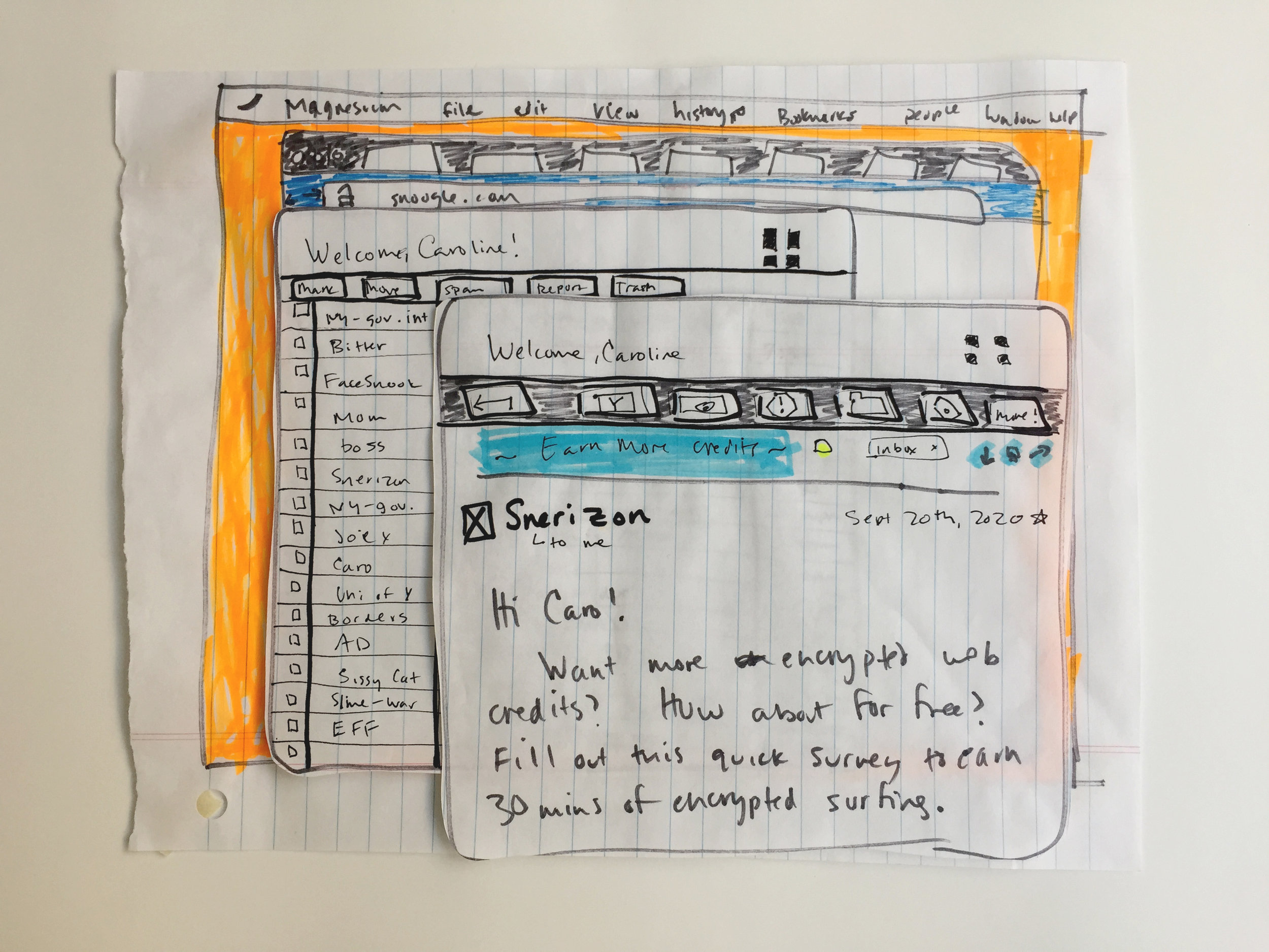 Paper prototypes of assets, narrative, and UI.