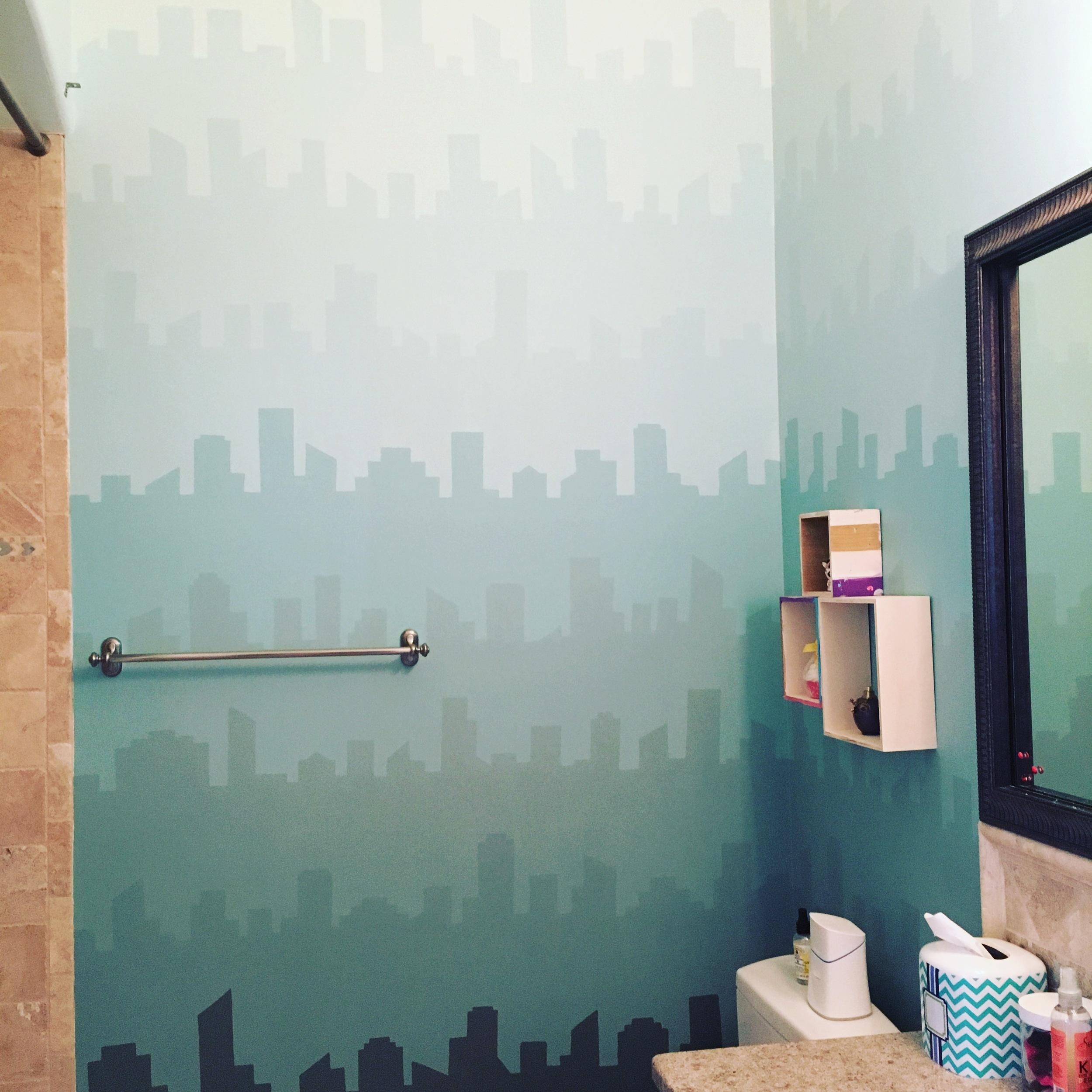 Tween bathroom mural, private residence