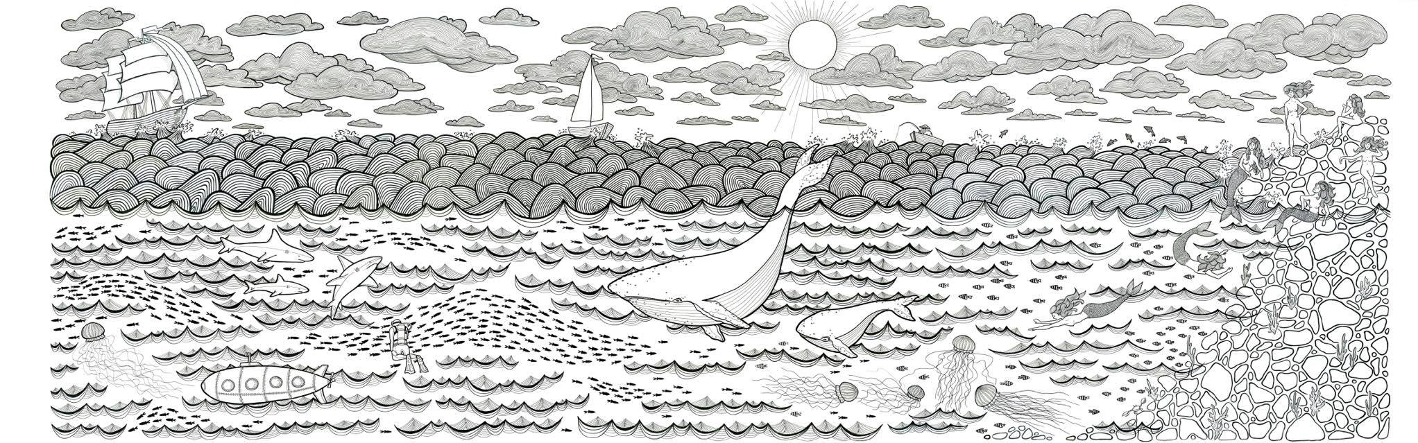 """The Adventure"" 3.5'x10.5'  Pen and ink on paper $1500 unframed"