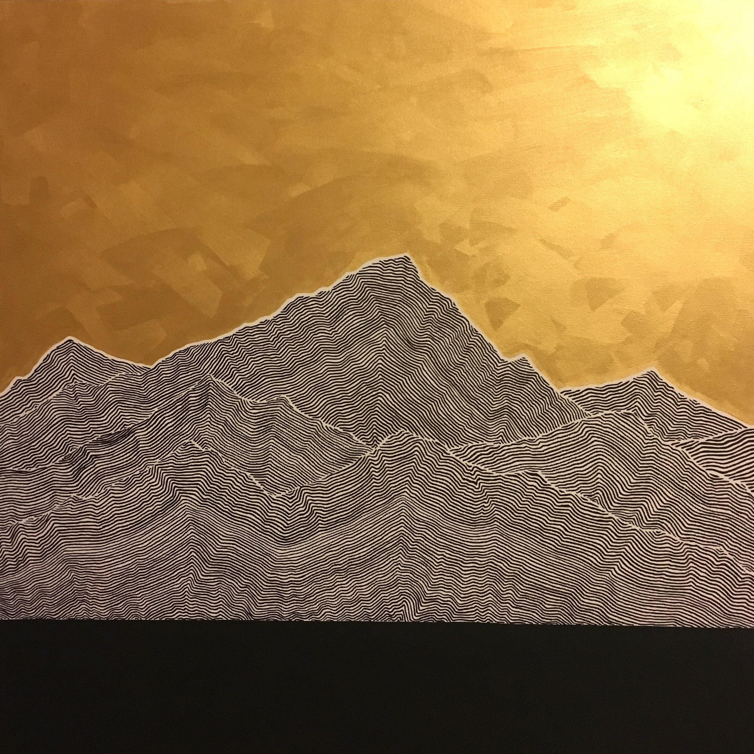 "Mountains I Ink and latex on canvas 36"" x 36"" SOLD"