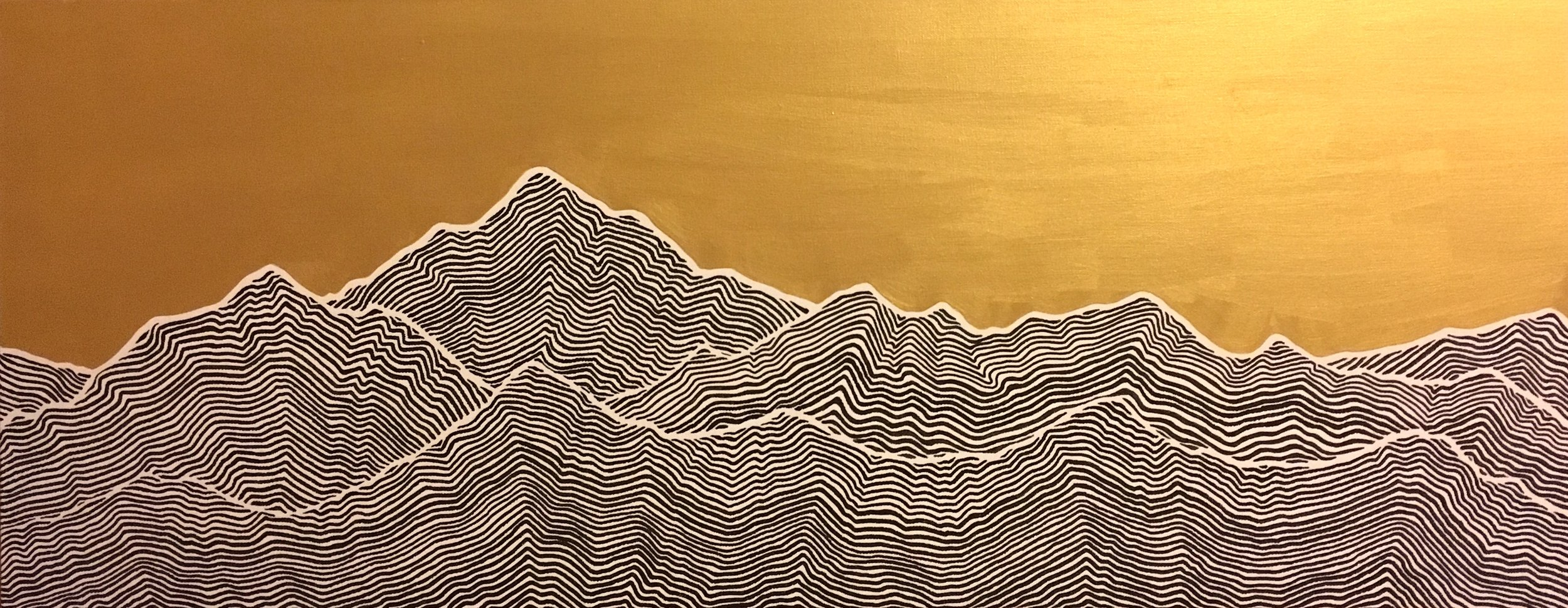 "Mountains II Ink and latex on canvas 40"" x 16"" SOLD"