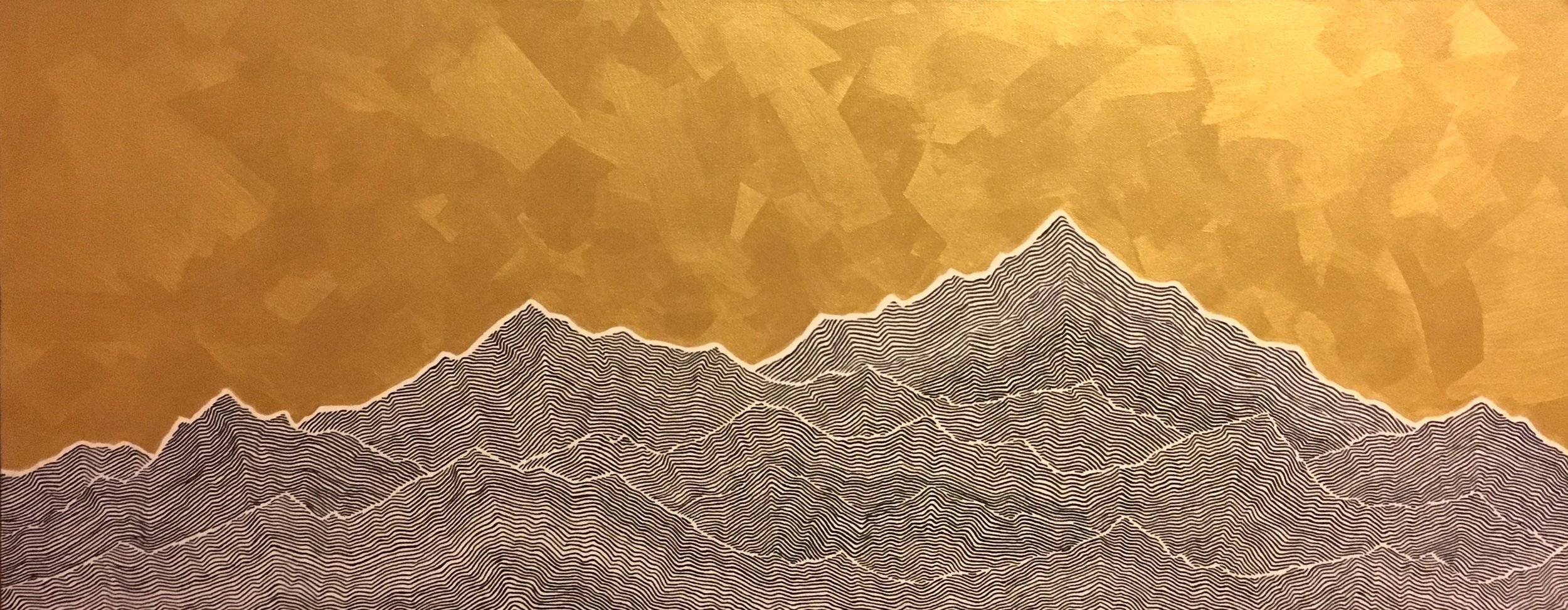 "Mountains III Ink and latex on canvas 40"" x 16"" $750"