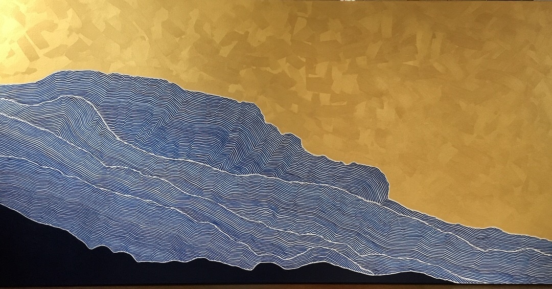 "Grandfather mountain Acrylic and latex on canvas 72"" x 36"" SOLD"
