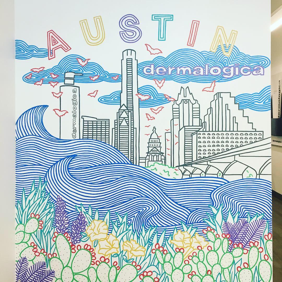 Dermalogica Training Center Selfie Wall Mural, Austin