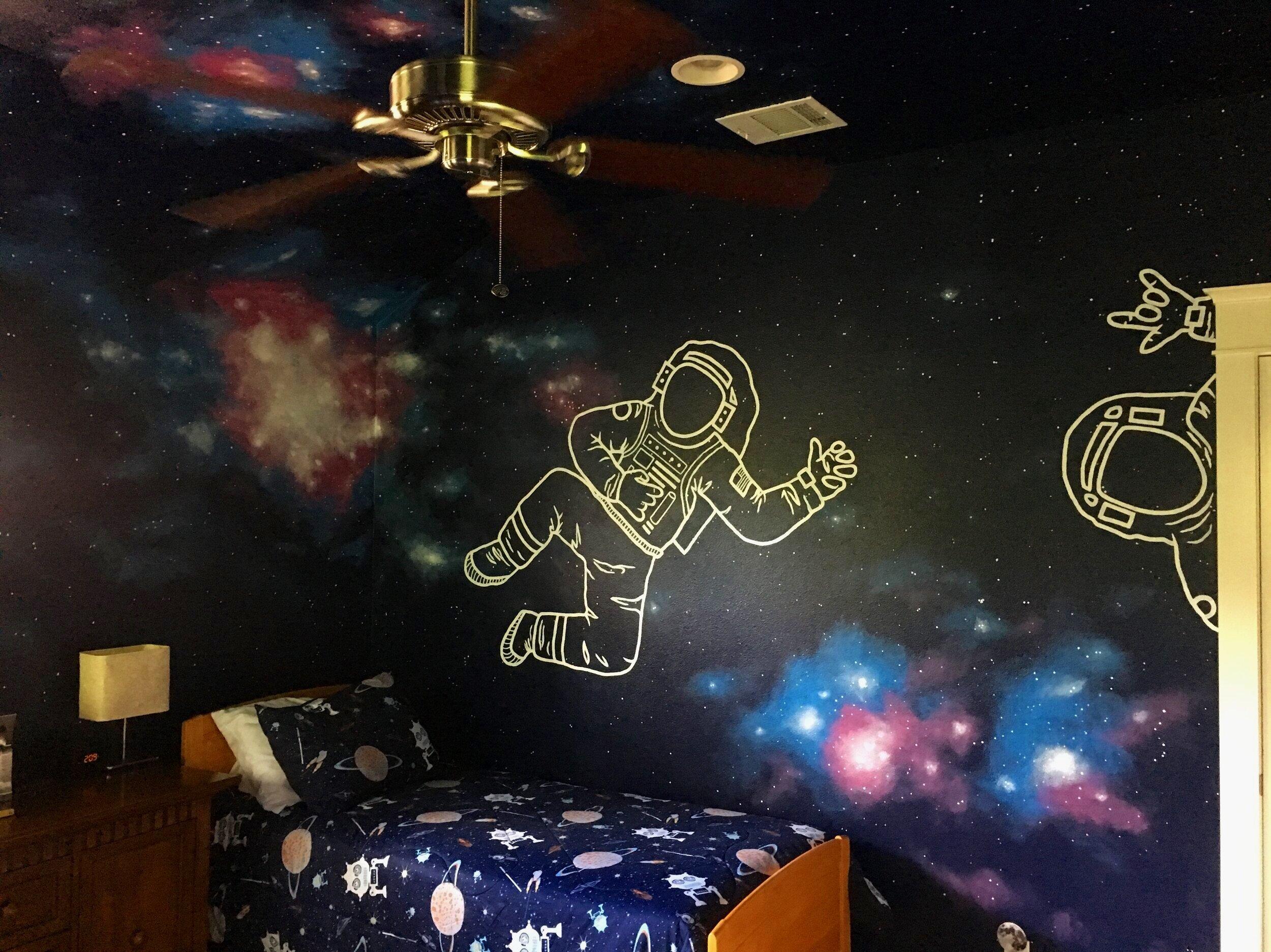 Kid's Room Space Mural, Austin
