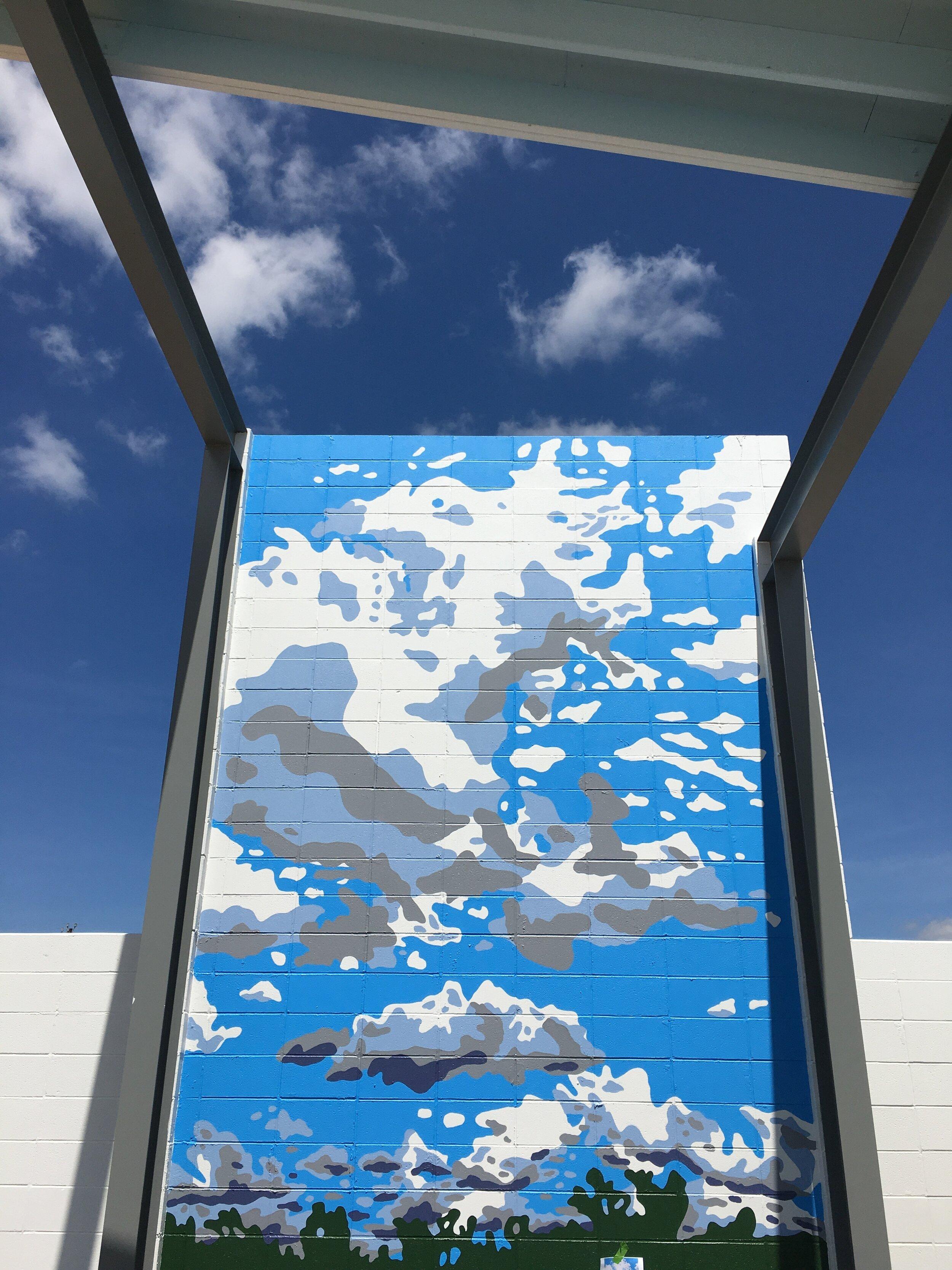 Blue Skies Retro Resort Mural, Fredericksburg