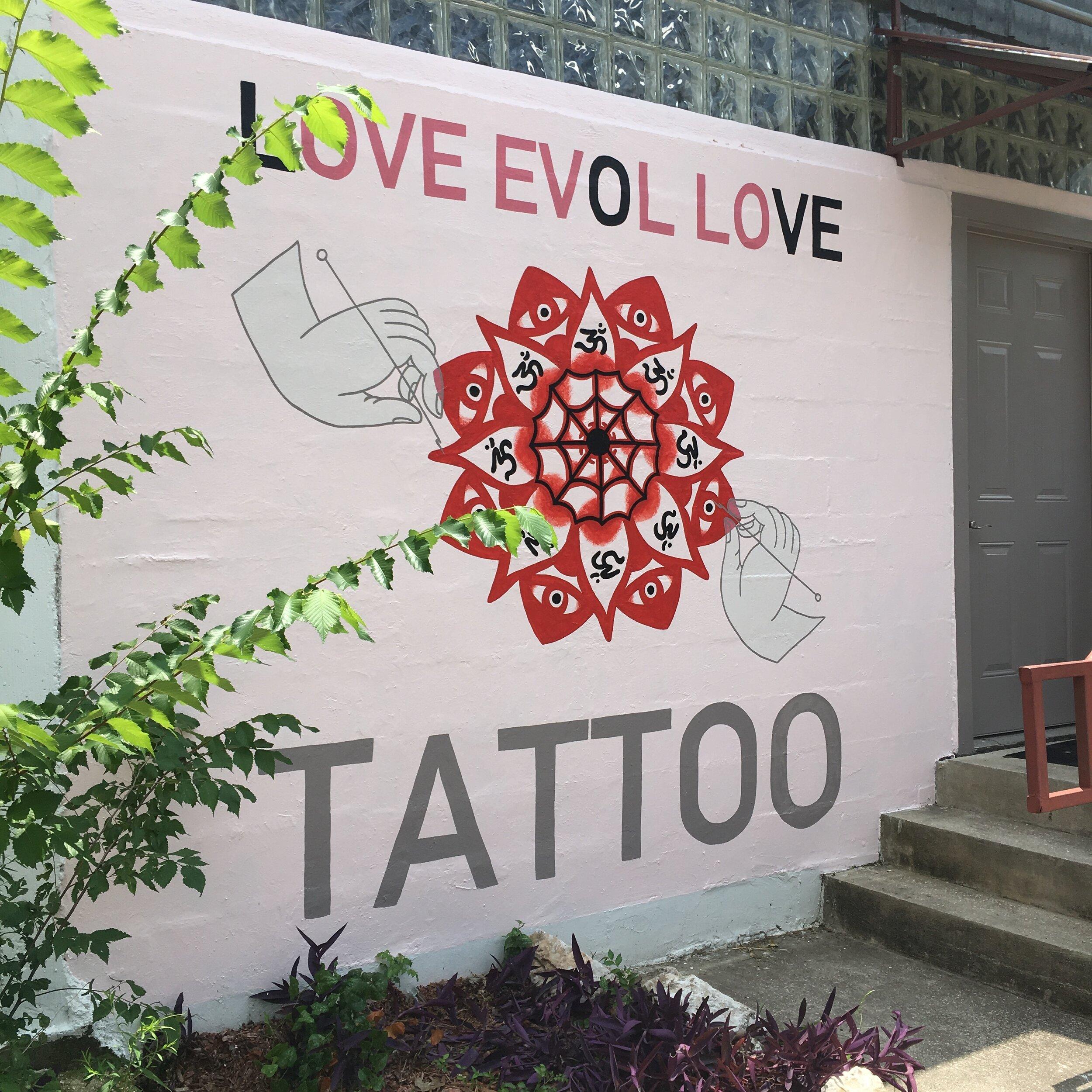 Love Evol Love Tattoo Shop Mural, Austin