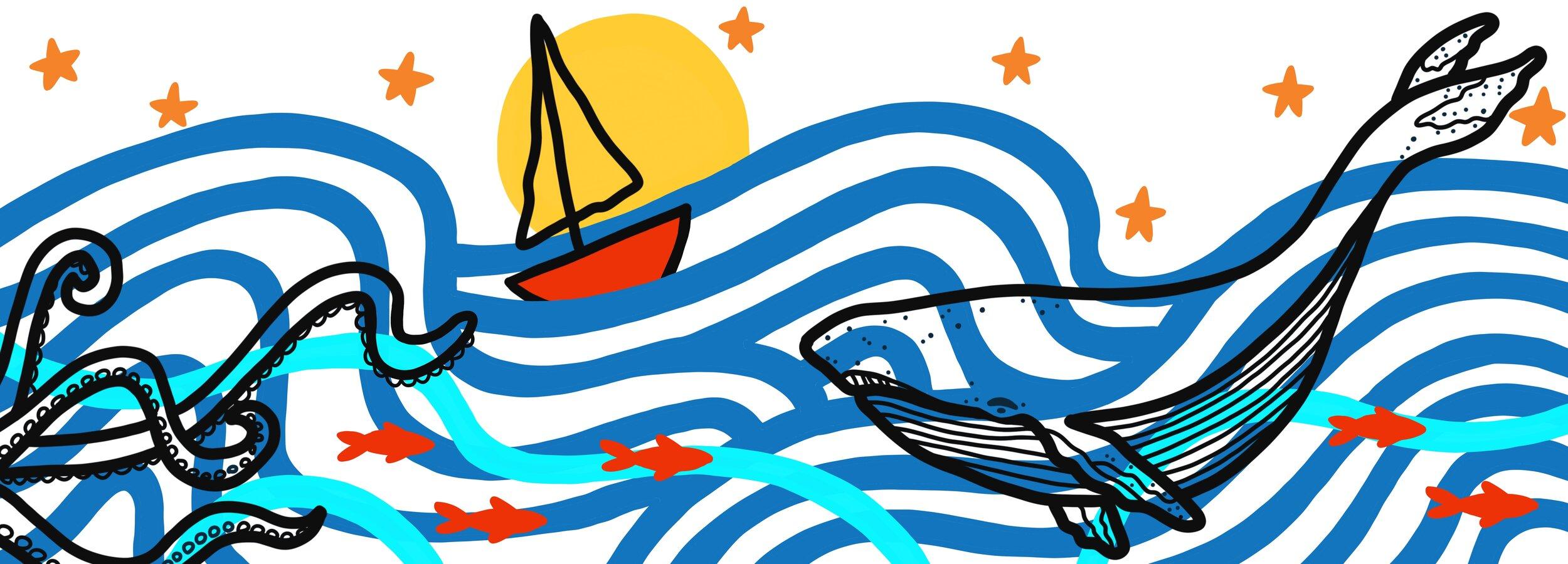Ocean Whale Mural Design