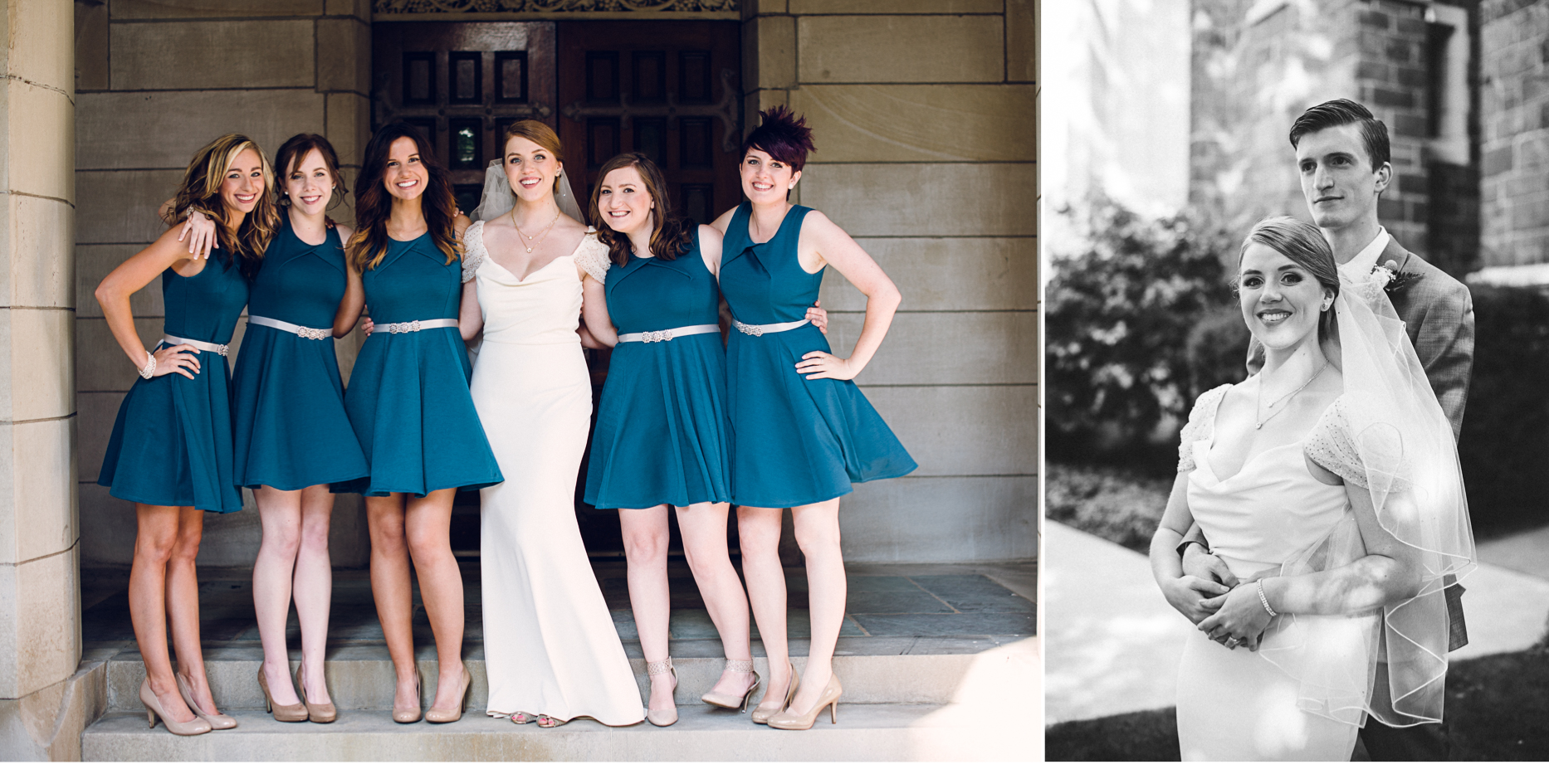 Bridesmaids and Couple