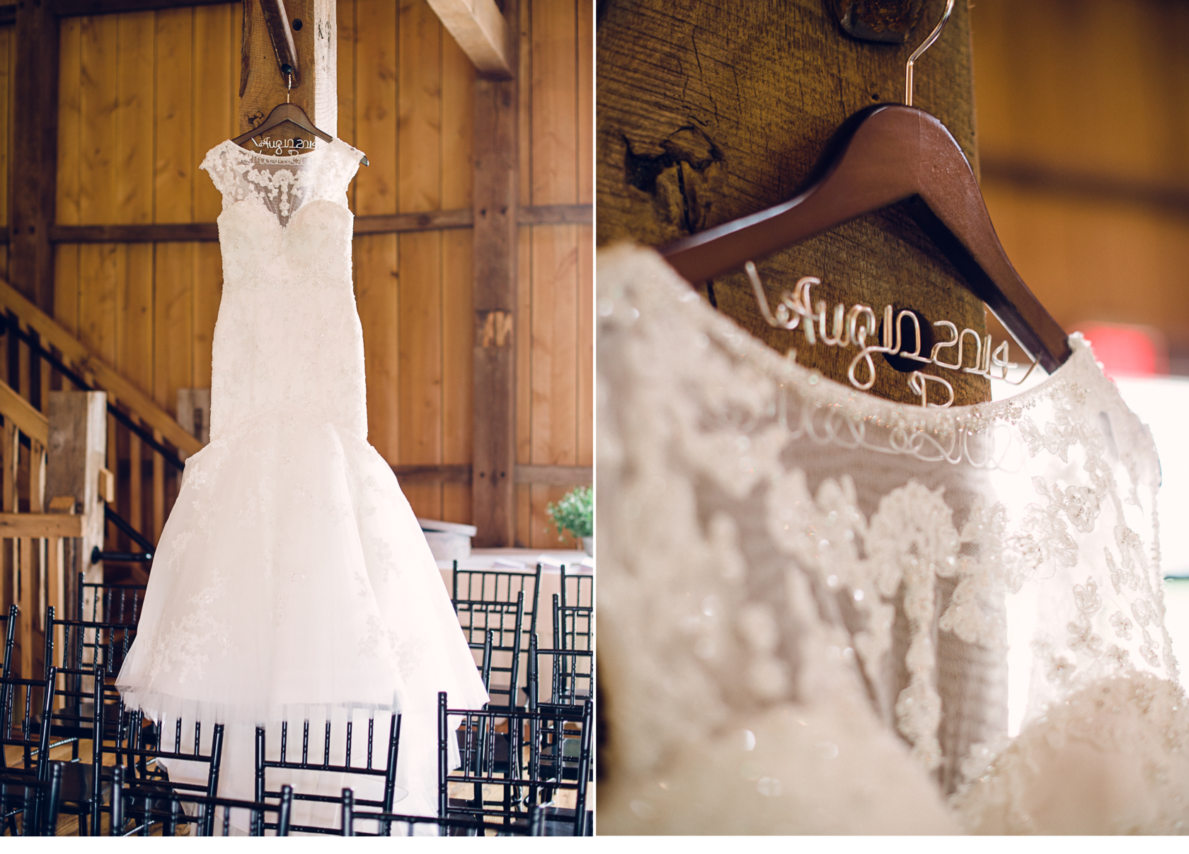 Wedding Dress in Barn