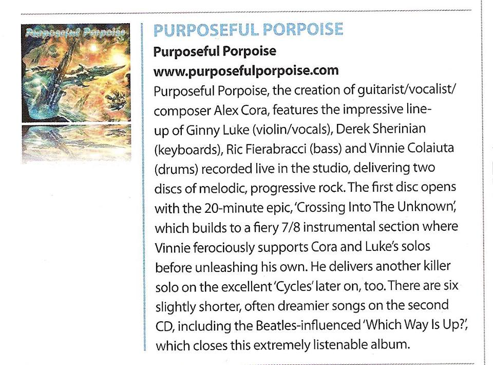 REVIEW OF PURPOSEFUL PORPOISE DEBUT RELEASE IN UK DRUM MAGAZINE APRIL, 2015 ISSUE