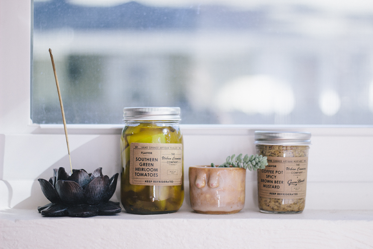 Delicious pickled products and mustards by St. Pete local  The Urban Canning Co. and my fav new pot by  Boobie Pots !