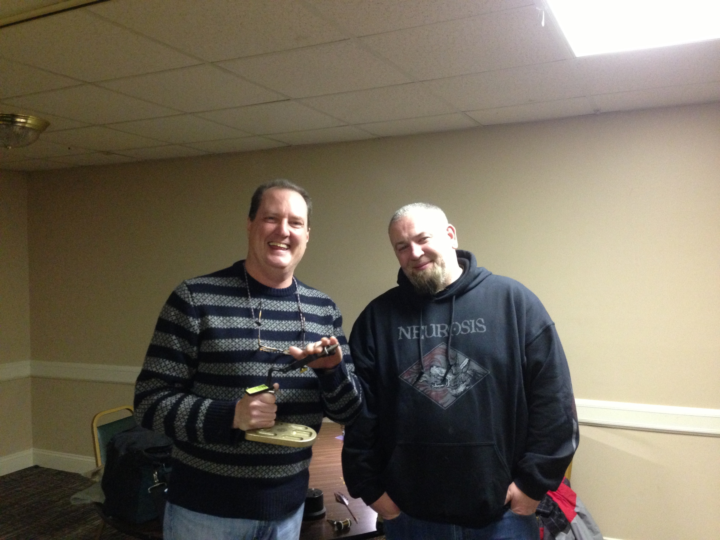 Matt Grobert and Mike McCauliffe at the January fly tying meeting. Rarely is such great talent assembled for a picture.