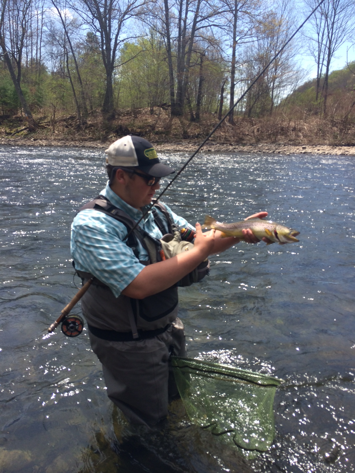 Alex working it while on a trip to the Beaverkill with oher Team USA members and Matt Grobert.
