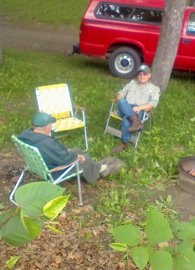 Dick and John Engsharing stories on the Beaverkill.