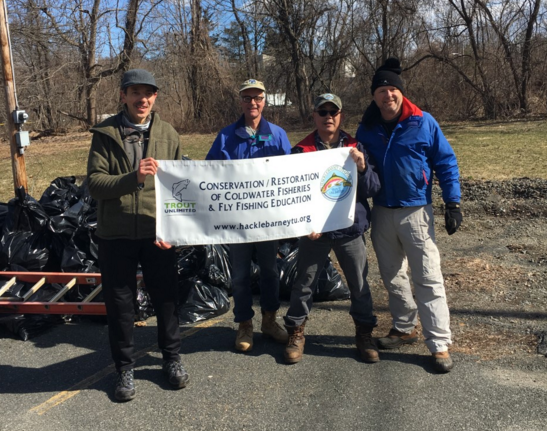 Whippany River Cleanup 2019- Jim Scott, Mike Sauriano, Jonathan Eng, and Charlie Smith.