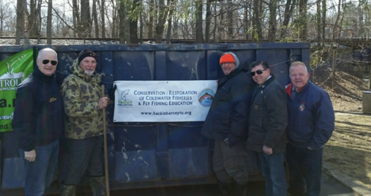 Rockaway River Cleanup 2019 with Morris County Sheriff, James Gannon, HTU members Steve Widuta and Sam Sandus, Assemblyman Tony Bucco and Freeholder Douglas Cabana.