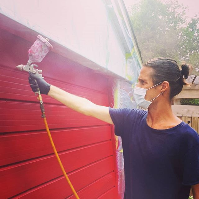 Peter get your gun. Just don't breathe. Job well done. #paint #garagegoals #crimsonred #autorepair #helpinghands #painting #garagedoor