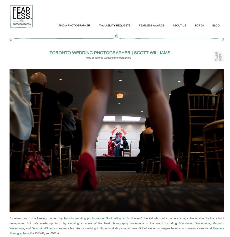 Toronto wedding photographer Scott Williams is featured on the Fearless Photographer blog.