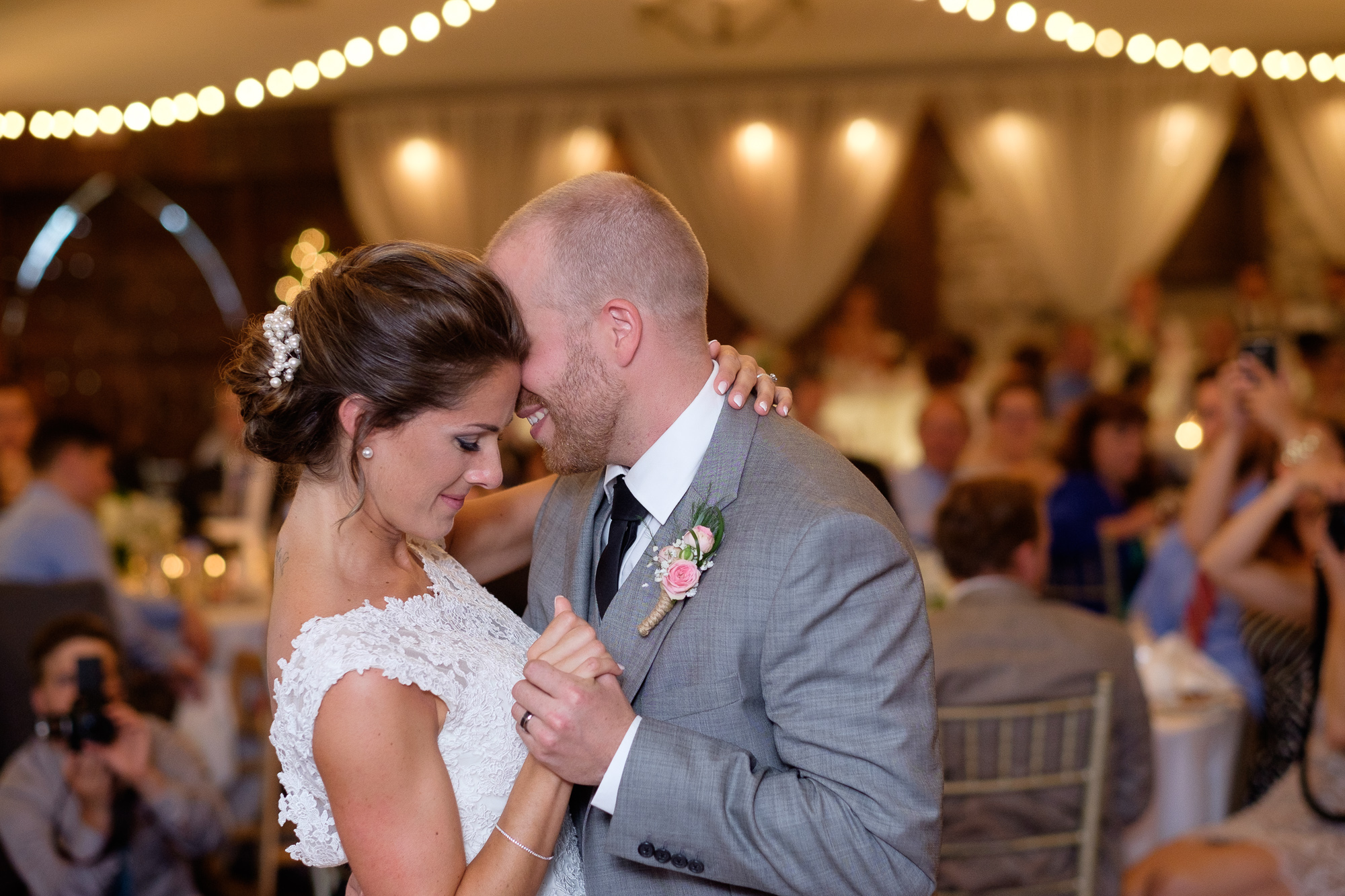 A photograph of the first dance during the reception from Rebecca + Jeff's wedding at the Hessenland Inn.