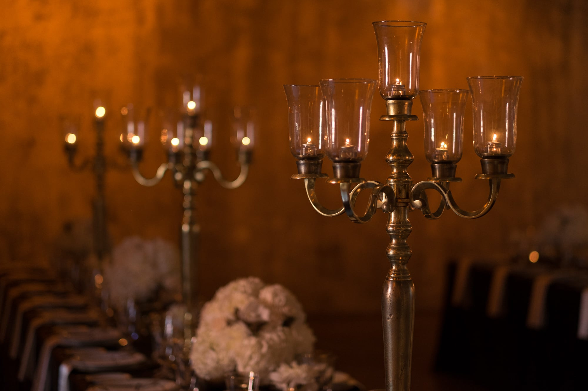 Ashot of the candelabra's on the tables from a wedding reception at Toronto's Fermenting Cellar in the Distillery District.