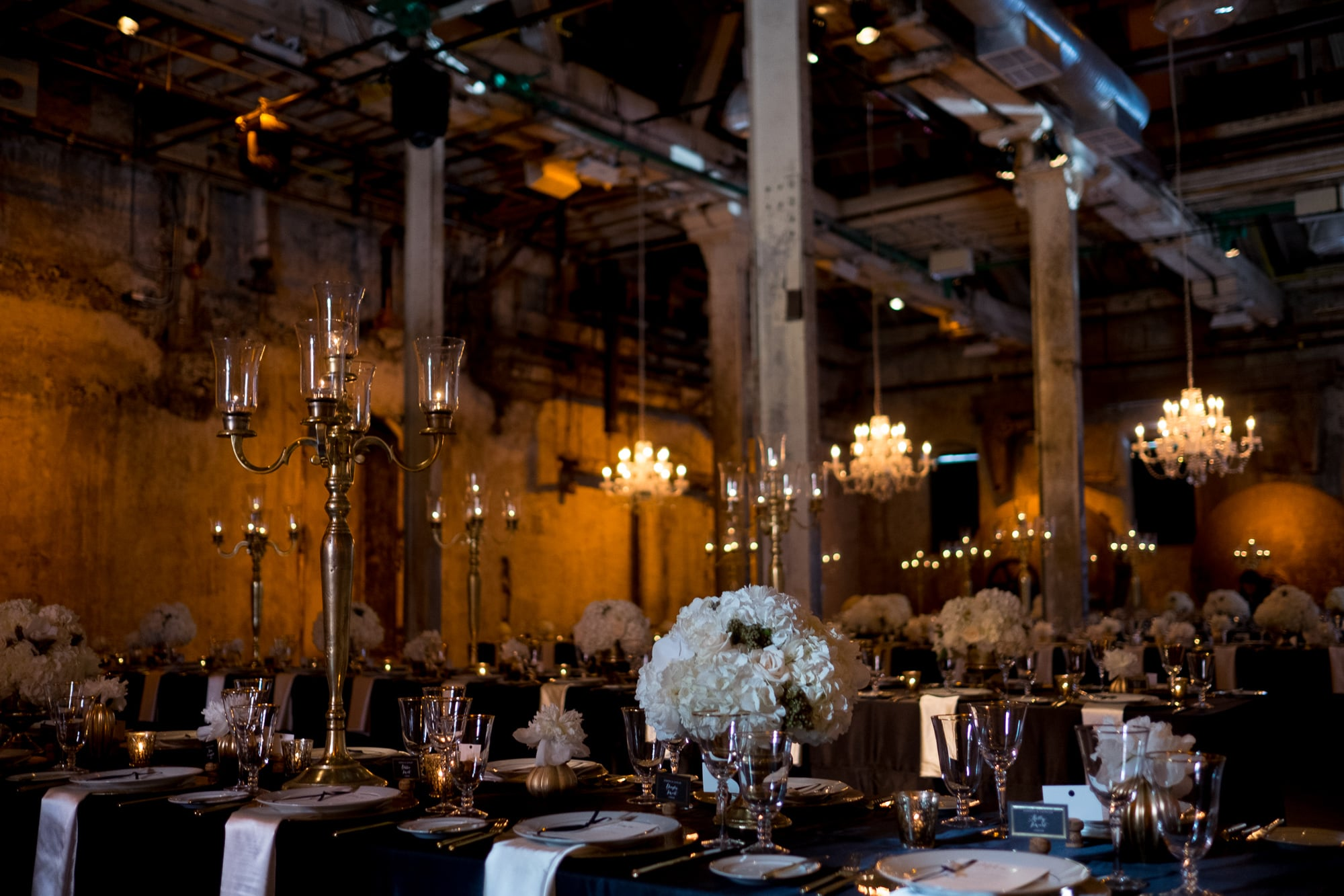 An overal detail shot of the wedding reception location at Toronto's Fermenting Cellar in the Distillery District.