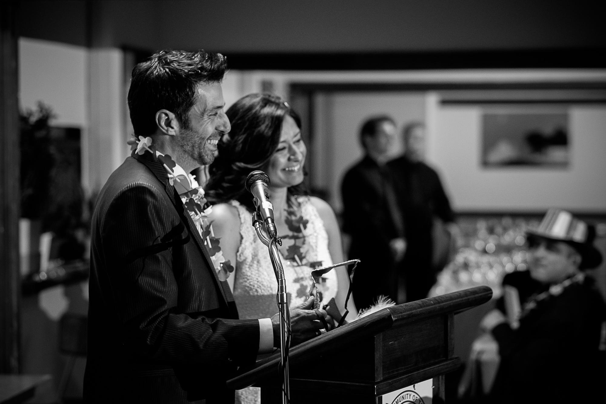 Maria + Theo thank their guest during their speech at their Toronto wedding reception.