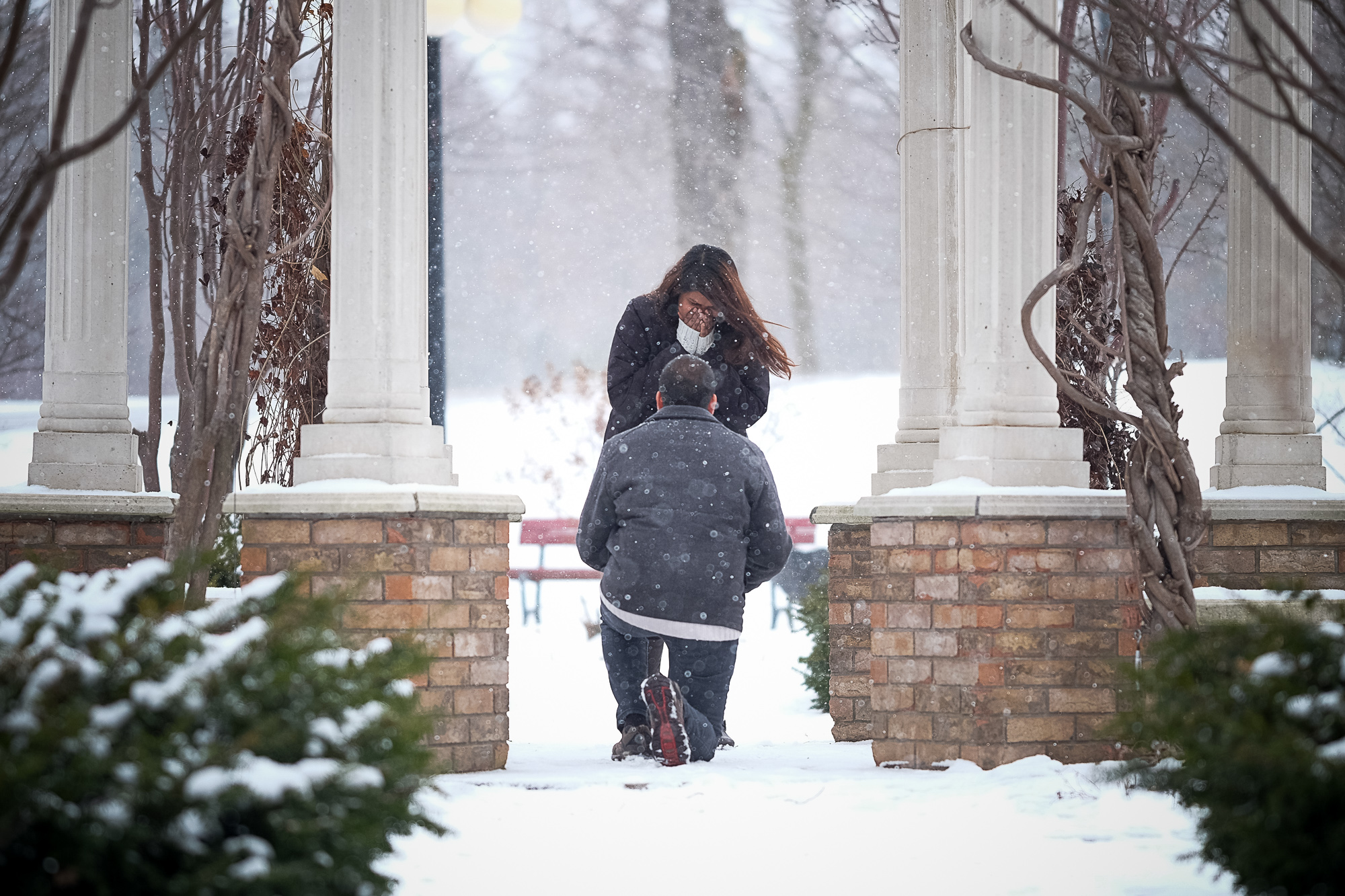 Jay proposes to his girlfriend in Waterloo Park during a winter snowstorm.