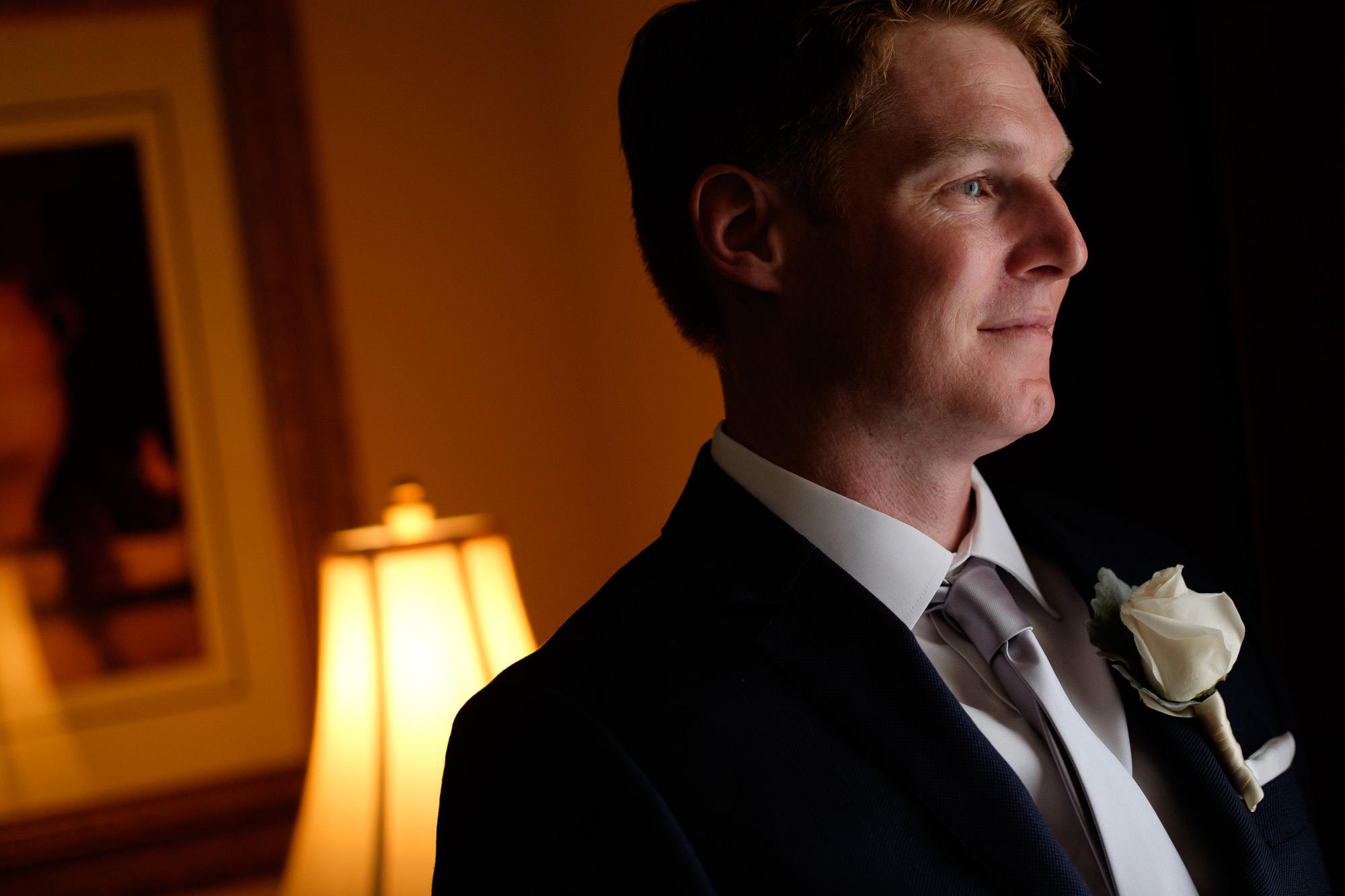 Chris poses for a portrait at his family home before his wedding at the Paletta Mansion in Mississauga.