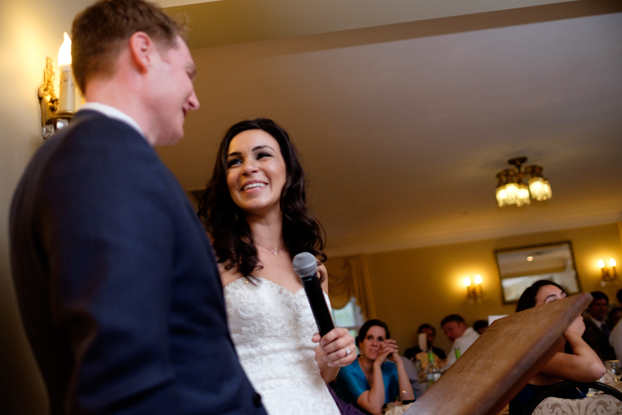 Laura has a laugh while giving her speech at her wedding reception at the Paletta  Mansion.
