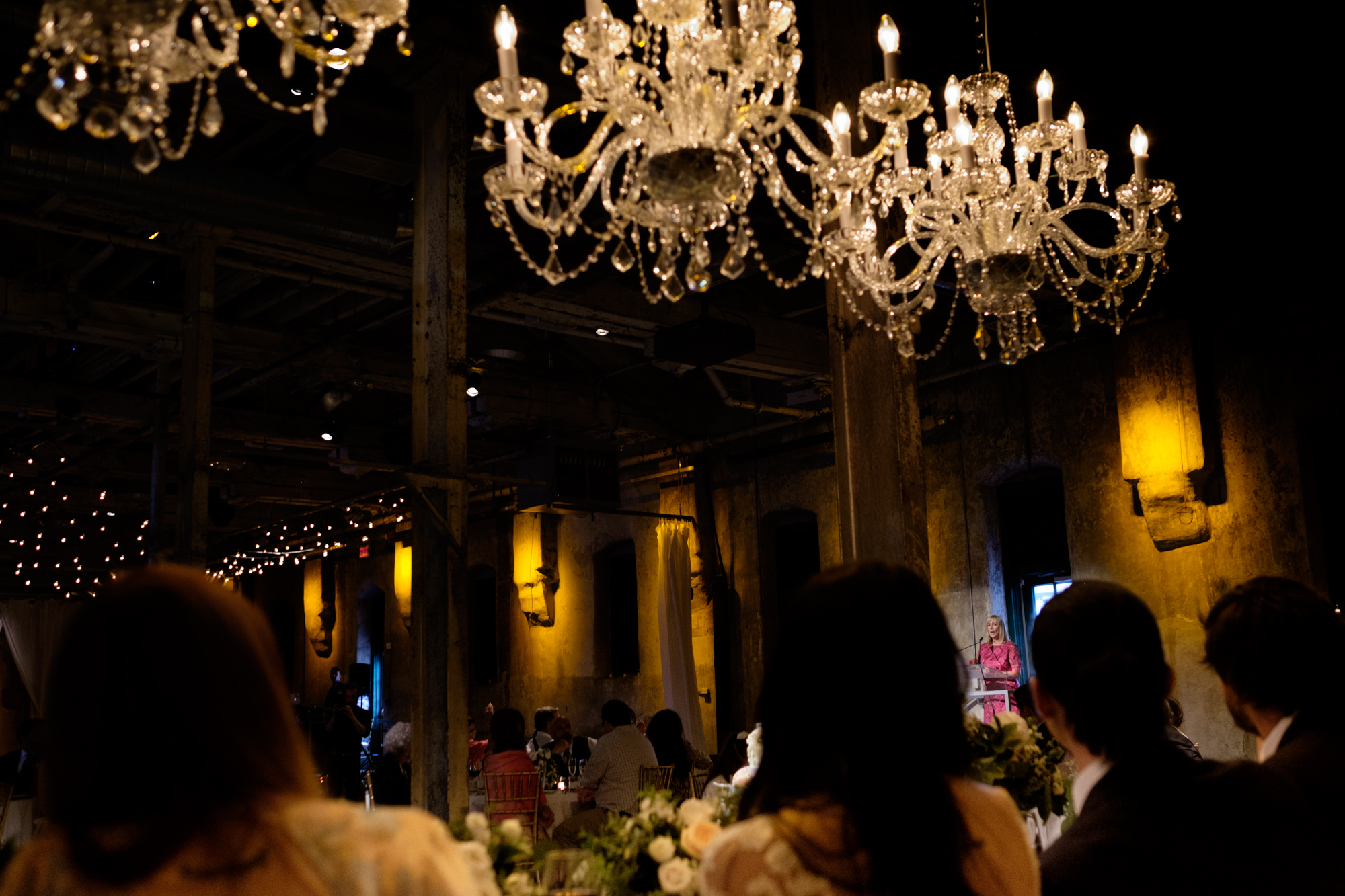Danni's mom gives a heartfelt speech during their wedding reception at the Fermenting Cellar in Toronto.