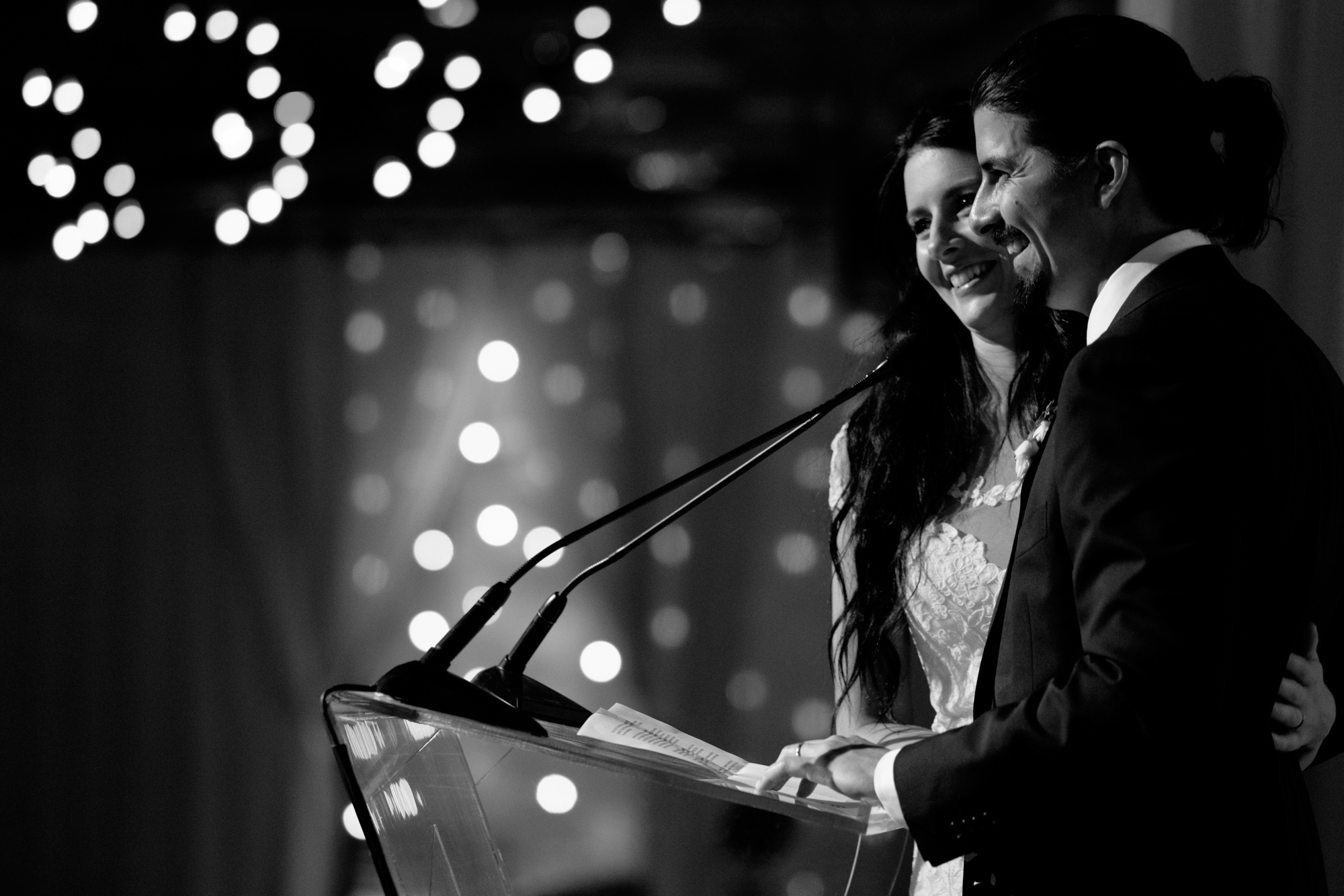 Danni + Felipe make a speech during their wedding reception at Toronto's Fermenting Cellar.