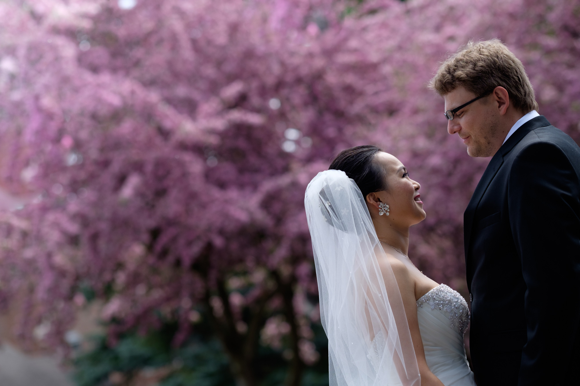 Jing + Rene pose for portraits before their wedding ceremony in Markham.
