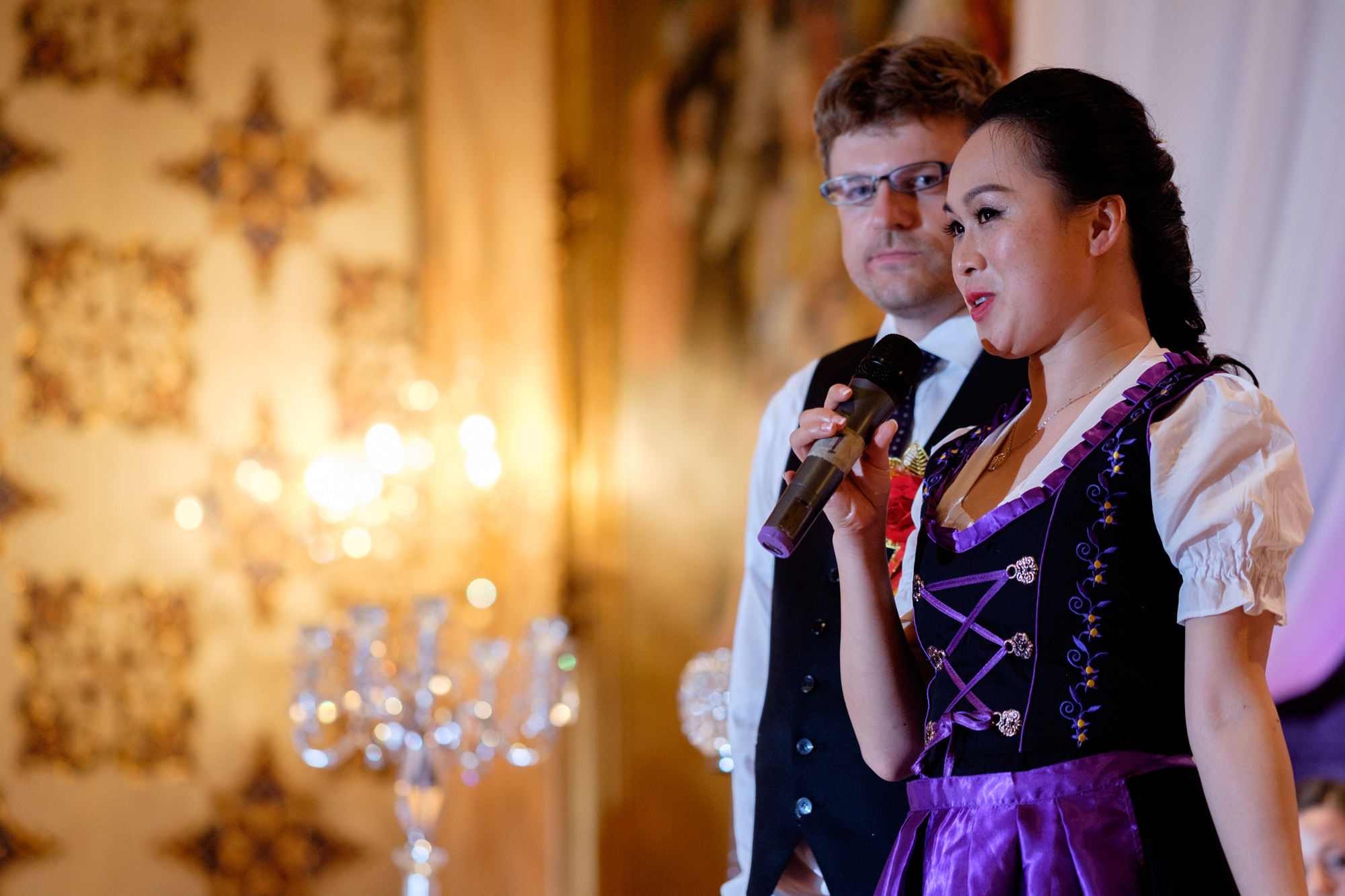 Jing + Rene thank their guests during their wedding speech during the reception.