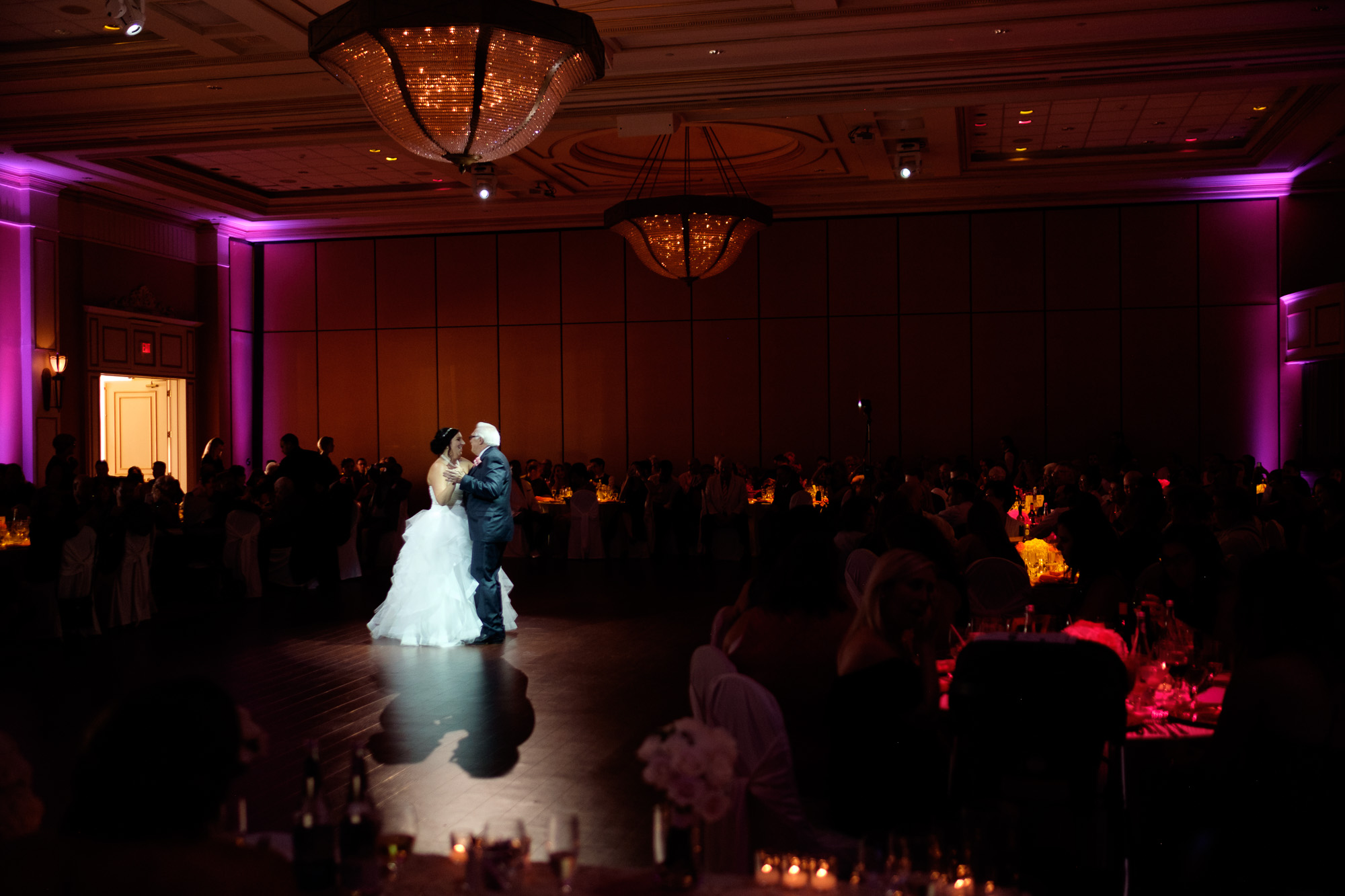 Melanie and her father share a dance during the wedding reception at the Toscana hall in Toronto.