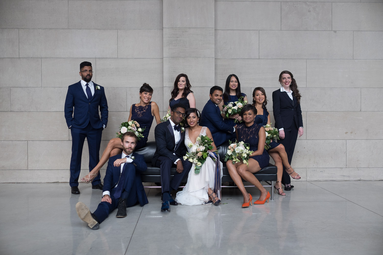 A portait of the wedding party from Najwa + Trevin's wedding at the Art Gallery of Ontario in Toronto.