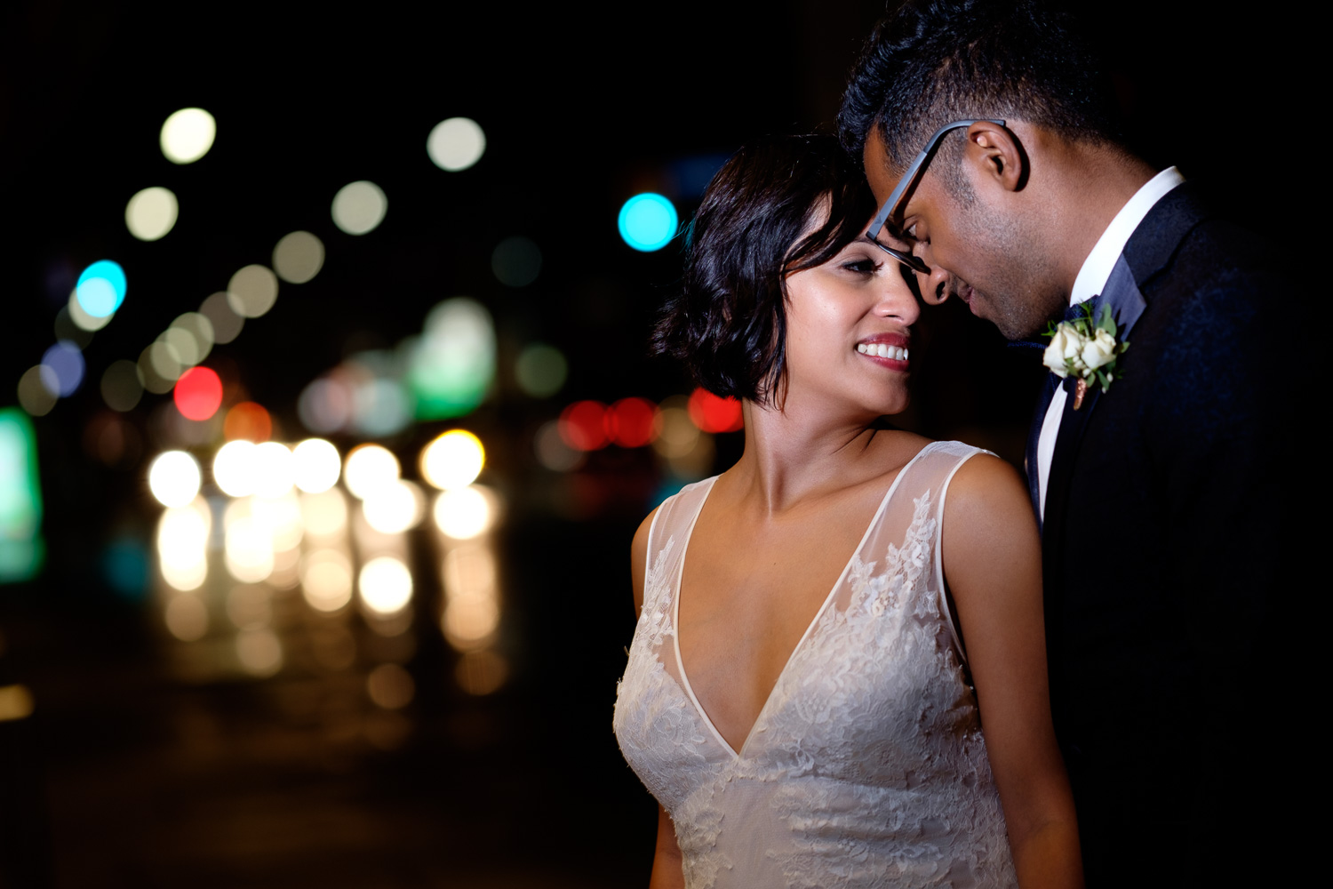 A nighttime wedding portrait of Najwa + Trevin at the wedding at the Art Gallery of Ontario in Toronto.