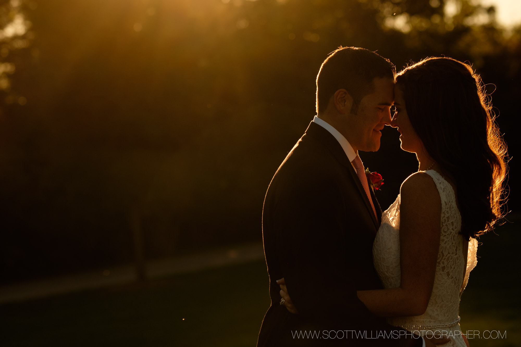 A sunset wedding portrait from a small, intimate wedding at Langdon Hall in Cambridge, Ontario.