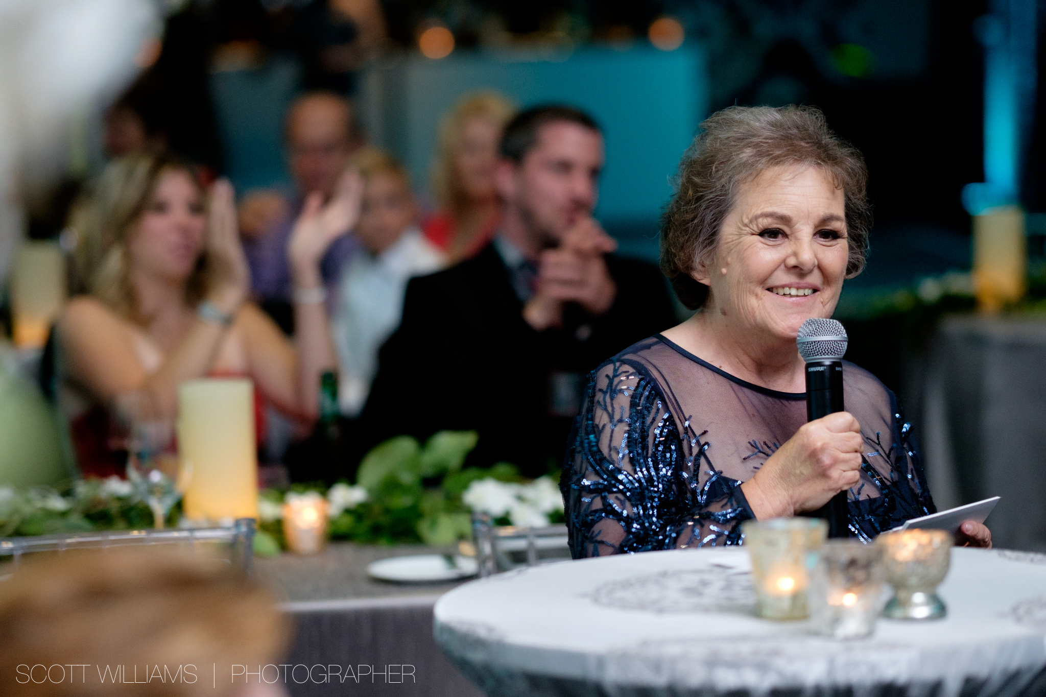 Christina's mother gives a heartfelt speech during the wedding reception at  their Malaparte wedding in Toronto.